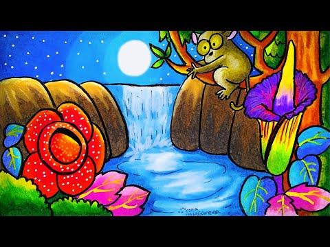 Cara Menggambar Dan Mewarnai Tema Flora Dan Fauna Langka Dan Alam Benda Yang Bagus Mudah Ep 212 Youtube