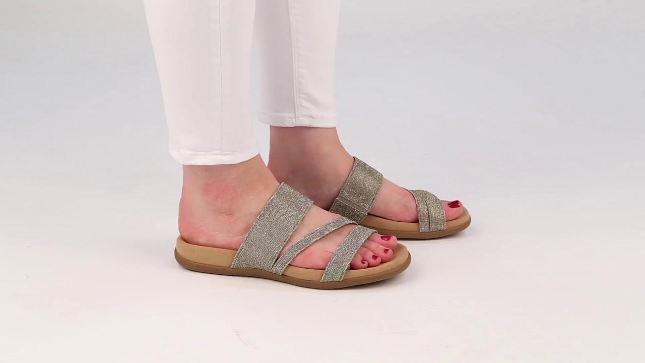 f329afe91c1 Gabor Tomcat II Platino Metallic Womens Elastic Mule Sandals - YouTube
