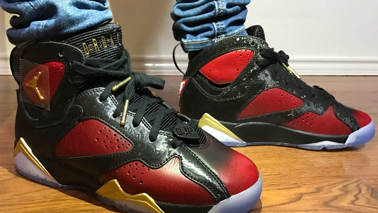 2bb6ffa3e070 Wife s Jordan Retro 7 Doernbecher unboxing and on feet review! - YouTube