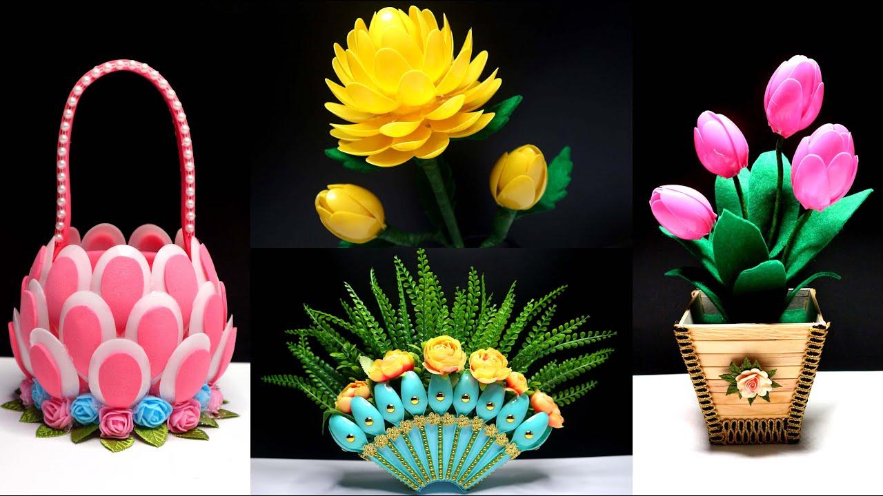 4  Ide Kreatif Terbaik dari Sendok Plastik | Plastic Spoons Craft DIY Ideas | Best out of waste