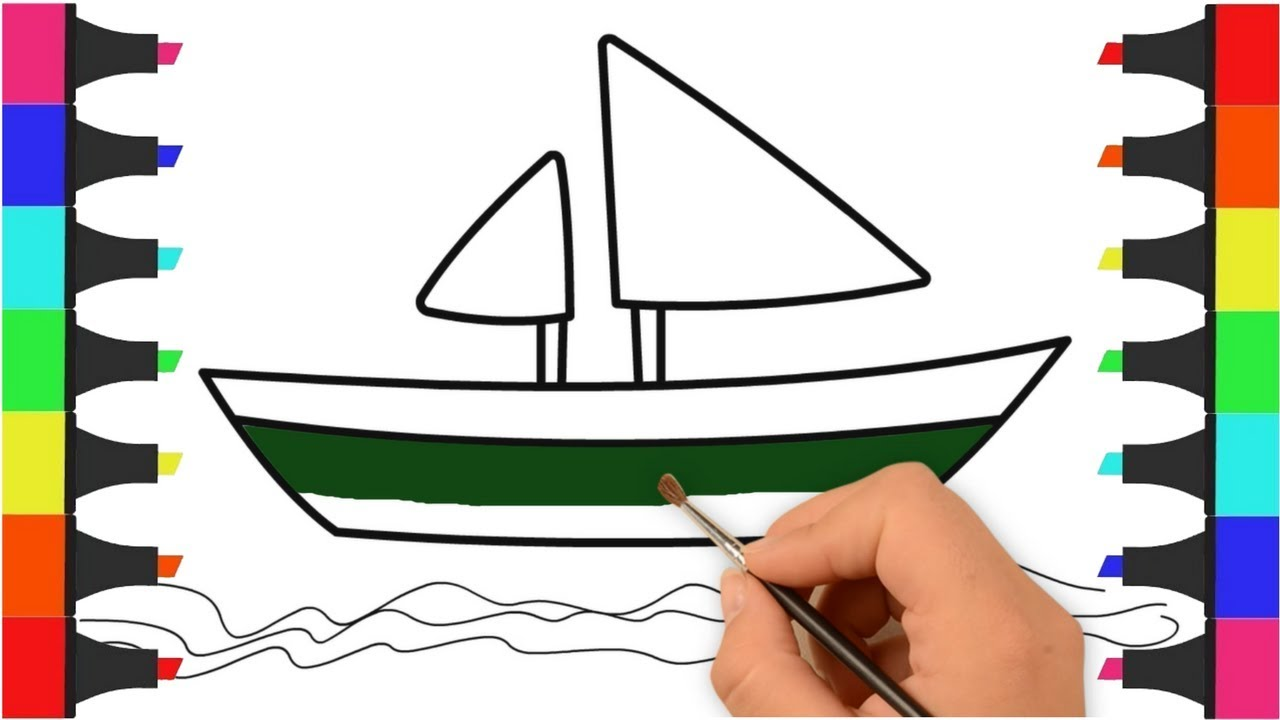 Boat coloring pages for kids learn colors boat drawing and coloring book for children