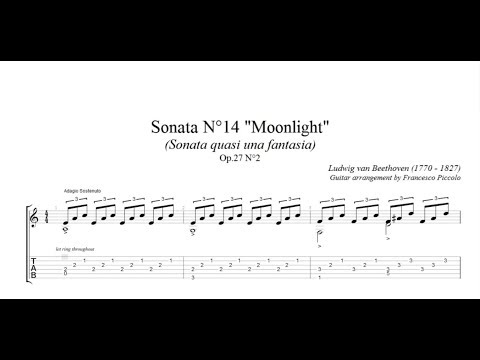 Classical Guitar - Beethoven -  Moonlight Sonata (Free Tab)