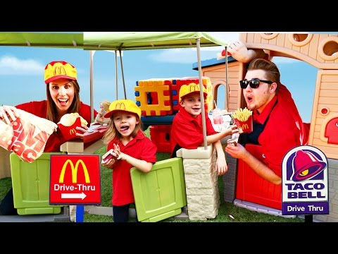 McDonalds Drive Thru Prank Taco Bell vs McDonalds Power Wheels Fast Food DisneyCarToys Compilation