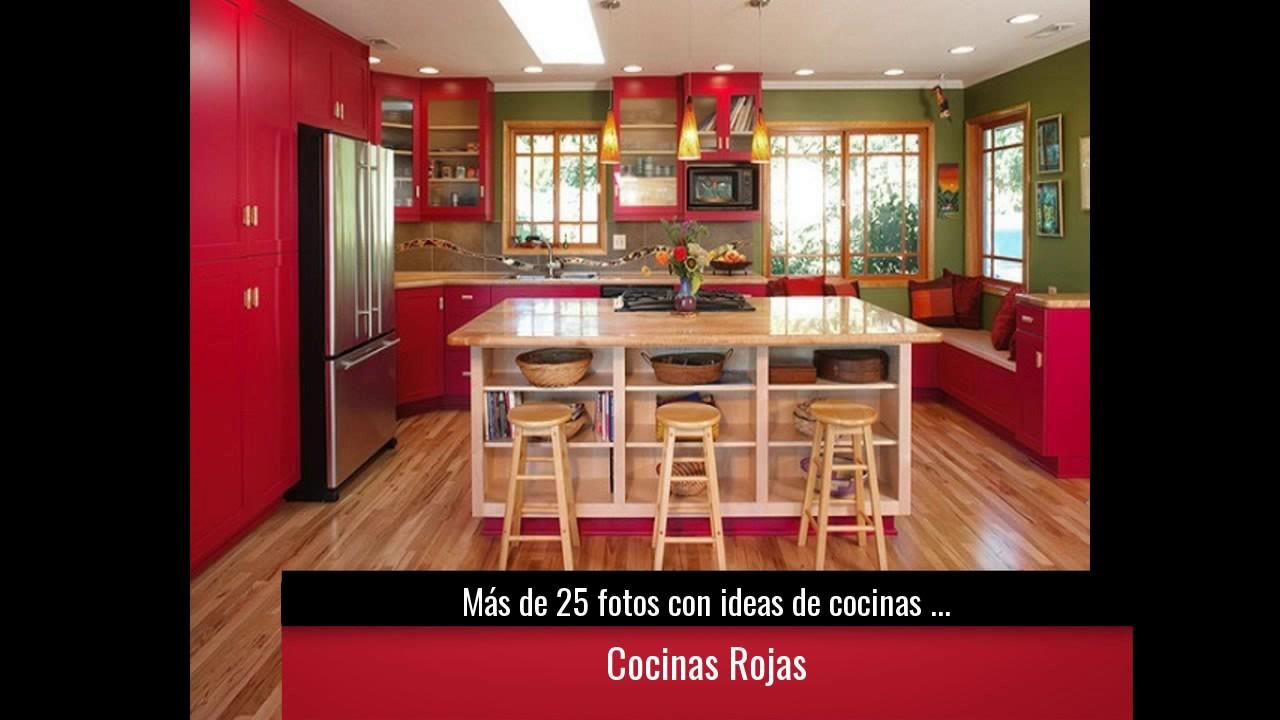 M s de 25 fotos con ideas de cocinas rojas youtube - Cocinas rojas ...