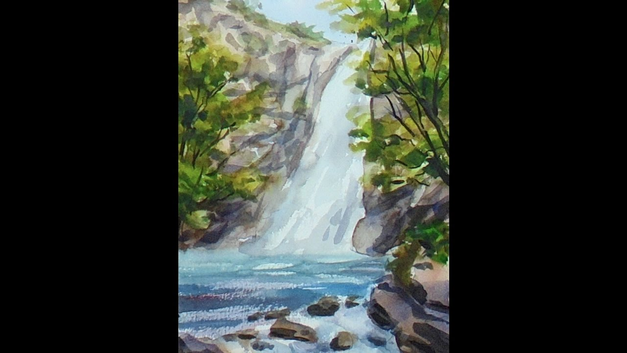 ACUARELA FACIL 40 Cascada del Cioyo Castropol Pintando con