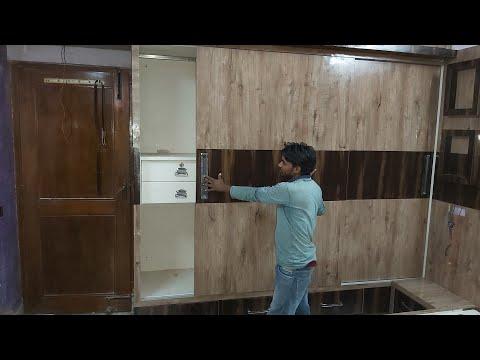 bedroom के लिए Sliding अलमारी design 8'x10' TV unit double bed attach Sliding wardrobe Delhi
