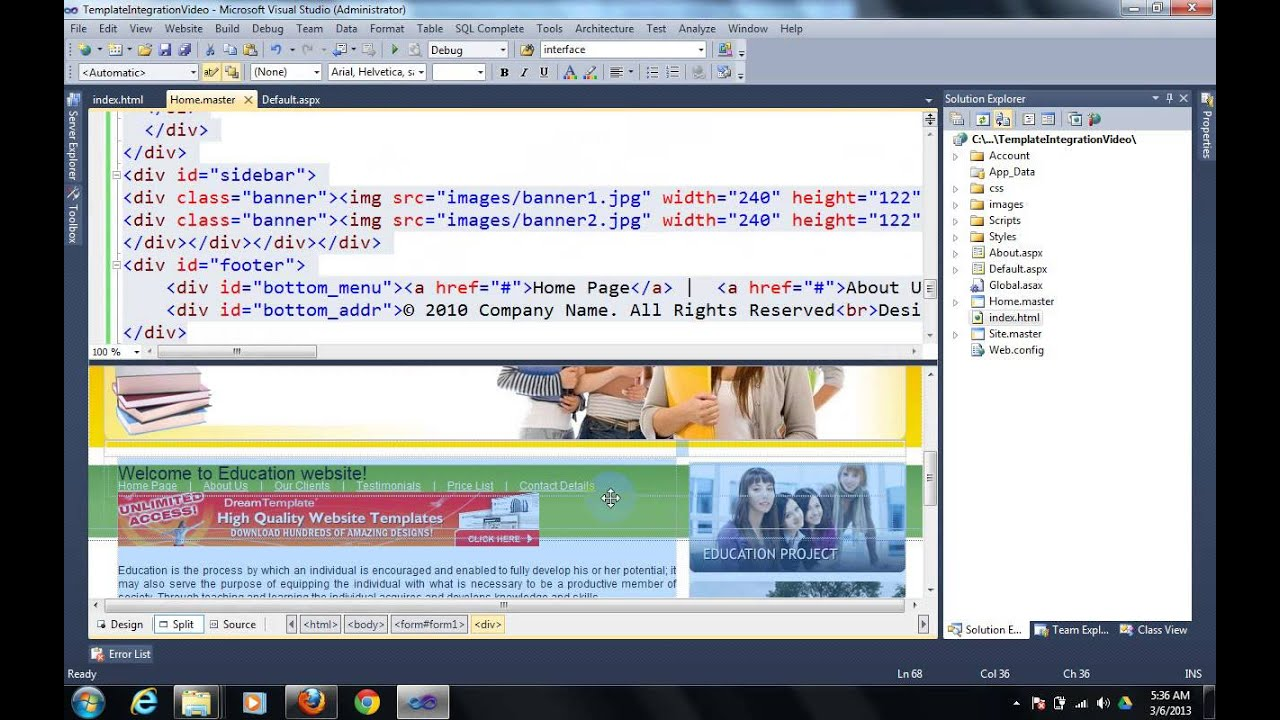 How to create master page and how to do website template how to create master page and how to do website template integration in asp net 40 youtube pronofoot35fo Gallery