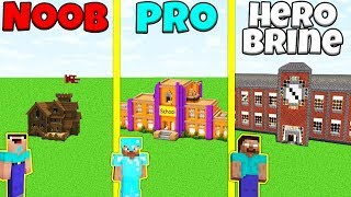 Minecraft Battle: NOOB vs PRO vs HEROBRINE: SCHOOL BUILD CHALLENGE / Animation