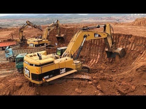 Caterpillar 365C Excavator Loading Trucks And Operator View