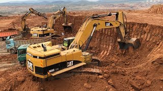Cat 365C Excavator Loading Trucks And Operator View