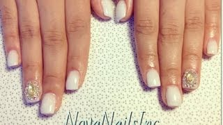 HOW TO: White Short Nails With Rhinestones ♥