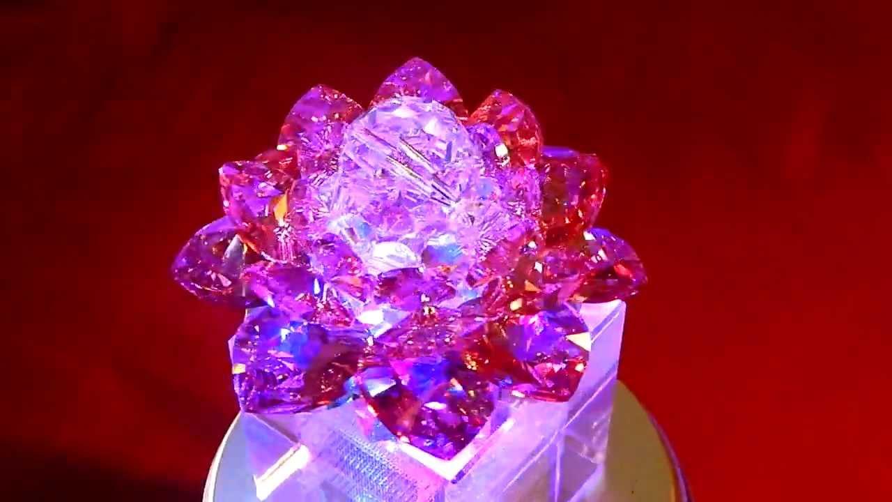 Swarovski Crystal Lotus Flower (Red Rose) - YouTube