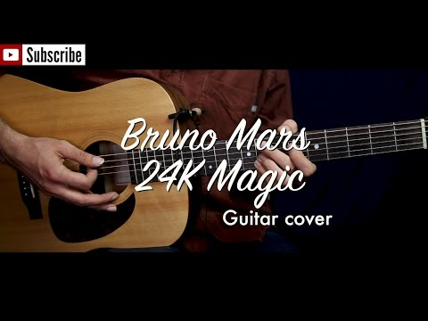 Bruno Mars - 24K Magic guitar cover / guitar (lesson/tutorial) w strumming, Chords. /play-along/