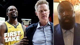 Kendrick Perkins: Steve Kerr's Anthony Davis comments are 'hypocritical' | First Take
