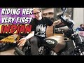 She rides her very first INDIAN motorcycle ever