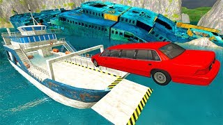 BeamNG drive - Throwing Cars Against Boats #2