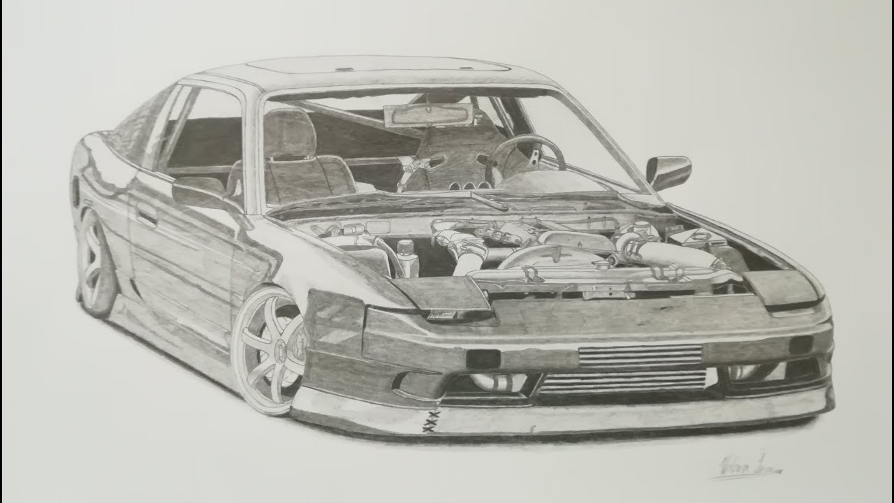how to draw a 180sx