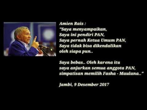 Prof. DR. H. Amin Rais Himbau seluruh Kader PAN Mendukung Fasha Maulana