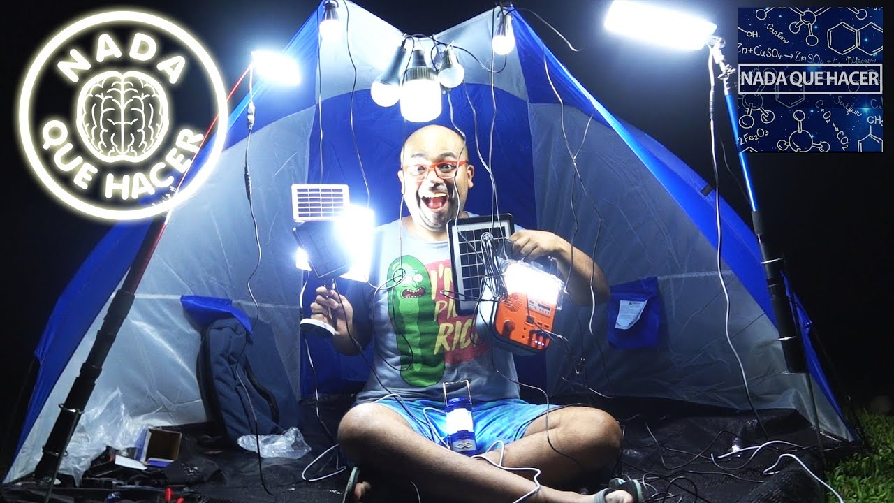 PROBANDO LED DE SUPERVIVENCIA/CAMPING PANELES SOLARES Y ACUMULADORES WOW! |NQUEH