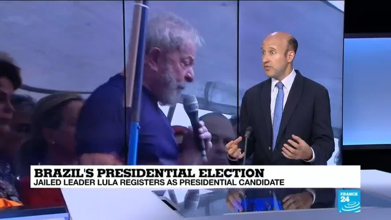 فرانس 24:Brazil's jailed former leader Lula registers as presidential candidate