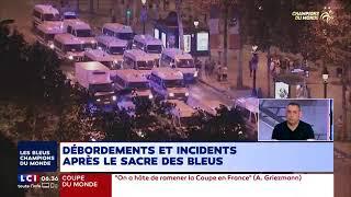 Incidents violents sur les Champs-Elysées après la victoire des Bleus