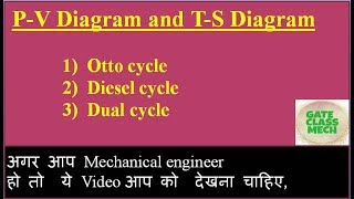P-V and T-S Diagram of otto cycle, Diesel cycle, Dual cycle (thermodynamics) by gate class mech