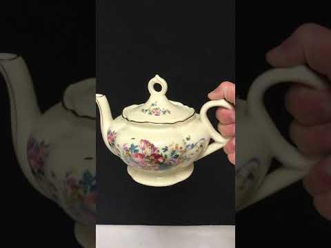 Lefton Hand Painted Floral Music Box Teapot