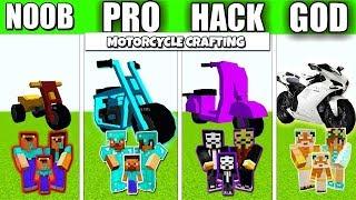 Minecraft Battle : MOTORCYCLE FAMILY CRAFTING CHALLENGE - NOOB vs PRO vs HACKER vs GOD Animation