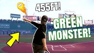 Can I Hit A Home Run at FENWAY Park? 455FT OVER GREEN MONSTER!? IRL Baseball Challenge