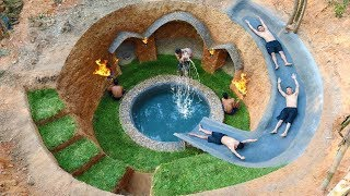 Dig To Build Swimming Pool Water Slide Around Secret Underground House