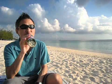 Drinking a beer on the Cayman Islands