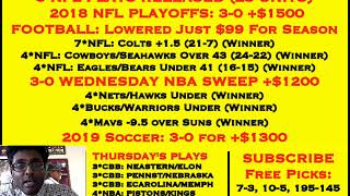FREE NFL PLAYOFF PICKS, 3-0 NFL PLAYOFFS +$1500, 3-0 NBA SWEEP +$1200 YESTERDAY [01-10-19]