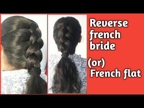 Reverse French Bride Or French Flat Hair Style In Telugu Steps Divyabarathi Jada Short Youtube
