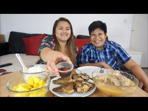 Sinigang na baboy and Fried tilapia | Filipino Food | Mukbang