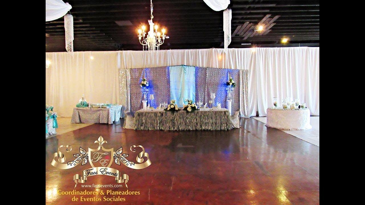 Faos events decoracion aqua y plata en el tao event center for Decoracion de pared para quinceanera