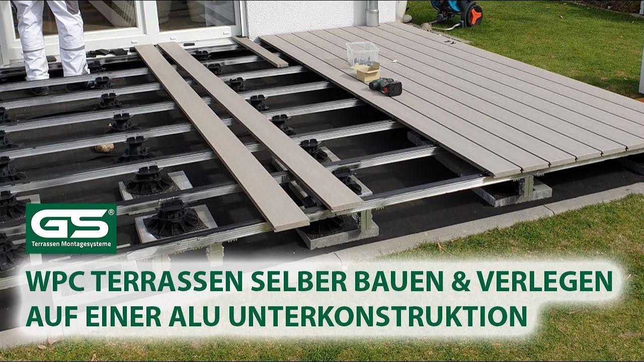 WPC Terrassen selber bauen WPC Dielen verlegen auf Alu Unterkonstruktion