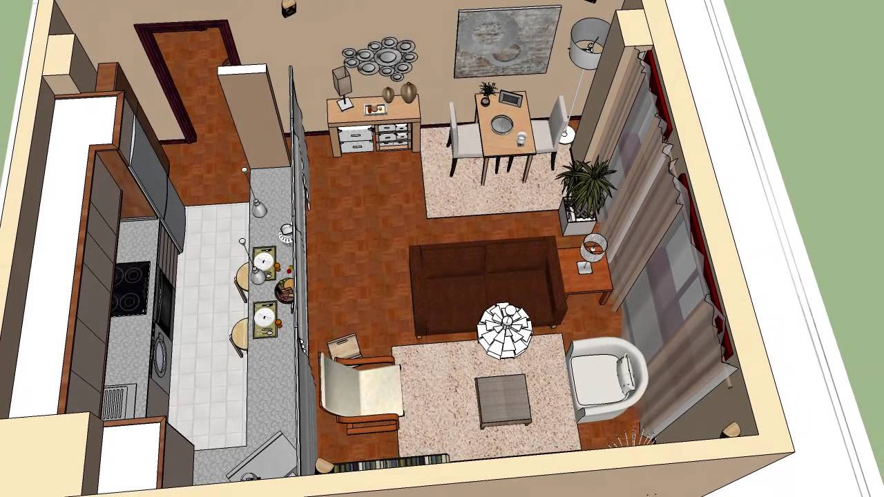 Sketchup apartamento 45 m 2 masquepintar youtube for Como decorar un apartamento de 45 metros