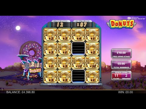 Donuts Slot Big Win £10 Spins 87x Multiplier BTG