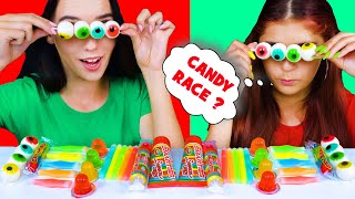 ASMR RAINBOW DESSERTS, CANDY RACE, SQUEEZE SMARTIES, CANDY SPRAY, JELLO CUPS