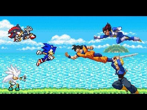 Sonic the Hedgehog VS Dragon Ball Z - Sonic Shadow Silver vs Goku Vegeta Trunks