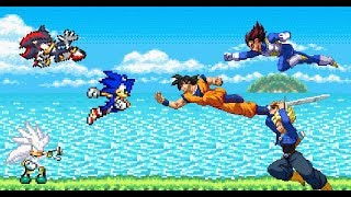 Sonic the Hedgehog VS Dragon Ball Z - Sonic Shadow Silver vs Goku Vegeta Trunks