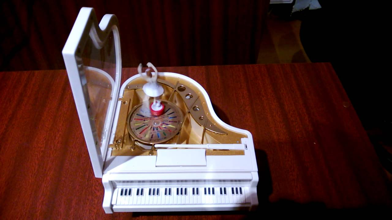 Music Box White Piano With Ballerina