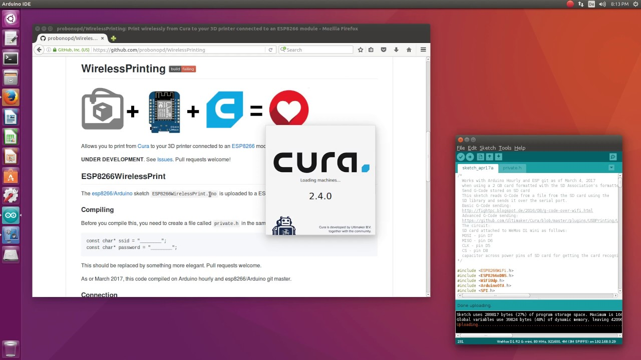 Cura WirelessPrinting using ESP8266 module by 09427560