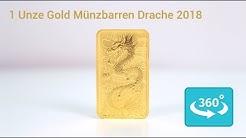 1 Unze Gold Münzbarren Drache 2018 in 360° Ansicht