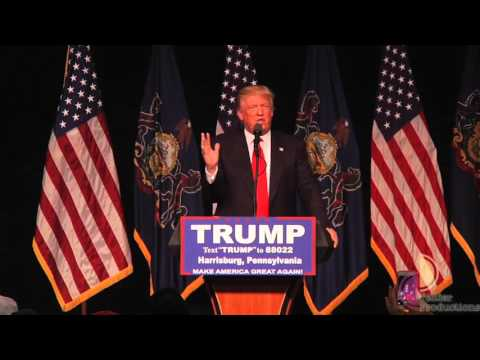 Donald Trump sides with Bernie Sanders about Hillary Clinton in Harrisburg, PA 4/21/2016