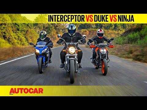 Royal Enfield Interceptor 650 vs KTM 390 Duke vs Kawasaki Ninja 300 | Comparison | Autocar India