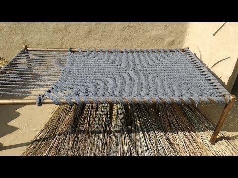 How to make Charpai   Amazing Khatiya Bunai   Charpai Weaving   Rope Bed   Village Food Secrets