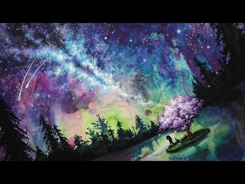 Galaxy Umbrella Watercolor +Galaxy Painting Timelapse [How to draw galaxy stars]