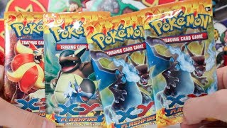 Opening 4 Pokemon X and Y FlashFire Booster Packs!!
