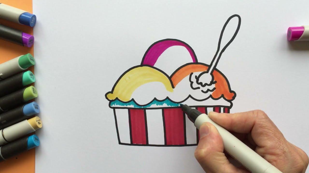 Eisbecher Eis Zum Nachmalen Diy Malen Und Zeichnen Kinder Und